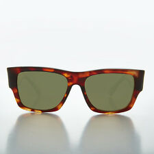 Big Square Thick Men's Brown Vintage Sunglass with Green lens - Freddy
