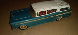 Vintage Tin Bandai Friction Car Rambler Station Wagon Teal/Green Made In Japan