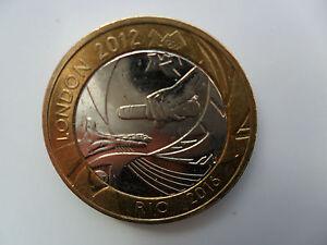 2012 £2 COIN UK TWO POUNDS LONDON OLYMPICS HANDOVER RIO BRAZIL RELAY BIMETALLIC