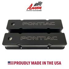 Small Block Chevy Valve Covers (Tall)- Pontiac Logo- Black- Ansen USA