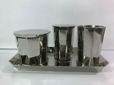 Restoration Hardware Bathroom Set Faceted Metal Polish Nickle 4 Pieces