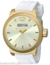 KENNETH COLE REACTION WHITE SILICONE BAND+GOLD TONE OVERSIZE MEN'S WATCH RK2229