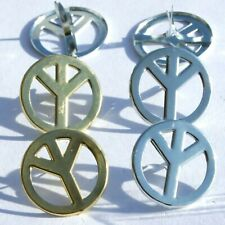PEACE SIGN BRADS Gold & Silver Colors Groovy Retro Scrapbooking Card Making