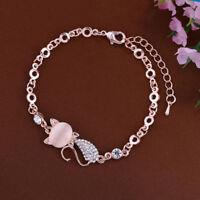 Femme Fille Bracelet Chaîne Chat Strass Diamant Alliage Mignon Amitié  Cadeau NF 37b117b3afdd