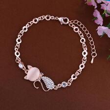 Femme Fille Bracelet Chaîne Chat Strass Diamant Alliage Mignon Amitié Cadeau NF