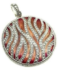 Silver Tone Carved Metal & Enamel Round Necklace Pendant