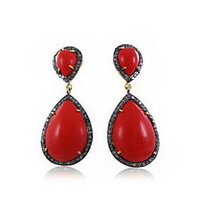 14.2cts Natural Red Coral Pave Diamond 925 Silver Gold Earrings Jewelry EAMJ-112