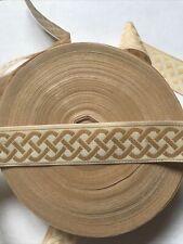 10 yds Awesome Celtic Knot Jacquard Ribbon Trim 7/8� Wide Camel & Cream