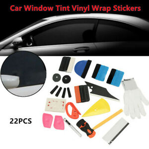 22X Car Window Tint Vinyl Wrap Stickers Set Squeegee Scraper Applicator Fix Tool