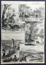1885 Iln Antique Print 5 Views of Life In Queensland - Gold Mining, Stage Coach.