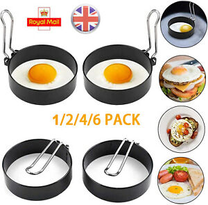 1-6PCS Stainless Steel Fried Egg Rings Non-Stick Frying Pan Cooking Shaper Mould