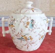 Lunéville sucrier faience  décor fleurs sugar pot