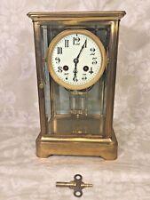 Antique French Crystal Regulator Clock Porcelain Face Running? Bronze Case