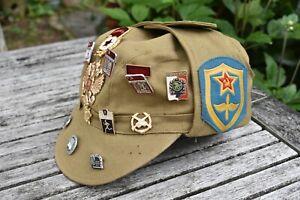 Vintage 1987 Russian Soviet Military Hat Peaked Cap With Enamel Badges