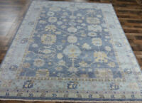 "8'2x10'4"" New Blues hand knotted wool Turkish Oushak Oriental Modern area rug"