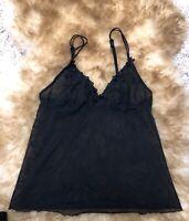 TCM BLACK LACE Camisole Top sleepwear nightwear size Uk 10/12