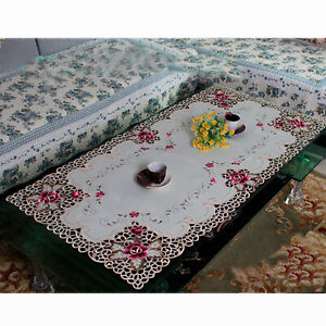 Vintage Embroidery Lace Floral Tablecloth Dining Table Cloth Cover Mat 60x120cm