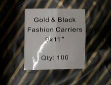 """Black and Gold Striped Plastic Carrier Bags Jewellery Fashion Gift Shop 9x11"""""""