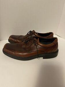 Ecco Brown Leather Lace Up Oxfords Square Toe Men's Shoes Sz 8.5 Eu 42 Apron Toe