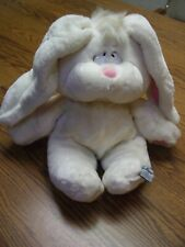 "1985 Mattel Emotions White Easter Rabbit Stuffed Animal/Pink Polka Dots/10"" Tall"