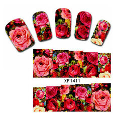 10Pcs Blooming Red Rose Pattern Nail Art Water Transfer Decals Wraps Stickers