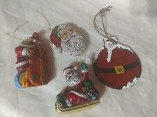 4 Vtg Xmas Ornaments Santa Clause Cello Sled Head Santa Belt