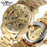 WINNER Luxury Automatical Mechanical Wrist Watch Men Gold Stainless Steel Band