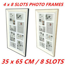4 x 8-Slots Photo Collage Picture Frame MDF Trim Decor Hanging Art Gift 35x65cm