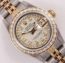 Rolex Lady Datejust Two Tone 18k Diamond Bezel White MOP String Diamond Dial