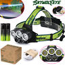 30000LM 5X CRE T6 LED Headlamp USB Rechargeable 18650 Headlight Head Torch Light