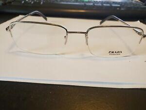NEW Prada Eyeglasses VPR 69H 1BC-101 SILVER TITANIUM 53/19/135 ITALY PERFECT