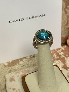 David Yurman 11mm Infinity Ring with Blue Topaz size 9 Sterling Silver 925