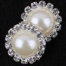 10pcs 15mm Shiny Rhinestone Pearl Cluster Wedding Rhinestone Button DIY Buckle W