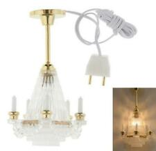 1:12 Dollhouse Miniature LED Chandelier Ceiling Candle Lighting Lamp Electric 9V