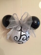 Disney Mickey Minnie Mouse Christmas Bauble Decoration Ornament Silver Black