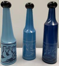 Vintage Salvador Dali Blue Toned Bottles No 1 No 2 & No 3 Decorated With A Still