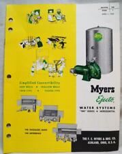MYERS EJECTO WATER SYSTEMS PUMP ADVERTISING SALES BROCHURE GUIDE 1955 VINTAGE