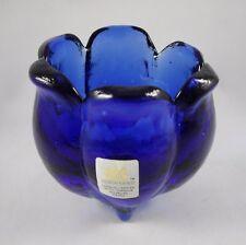 Design Guild Cobalt Blue Art Glass Petal Vase Bowl Footed Heavy Made in Spain