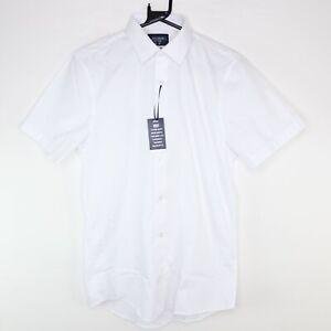"F&F Slim Fit Dress Shirt White Short Sleeves Size 15"" Collar"