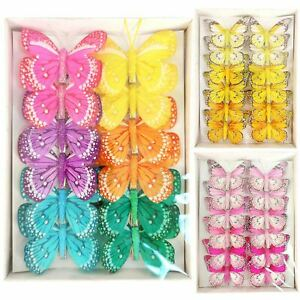 Box of 12 Premium Feather Butterfly Clips - Artificial Florist Large