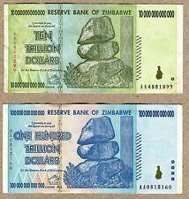 Zimbabwe 10 & 100 Trillion Dollars 2008 VF currency bills