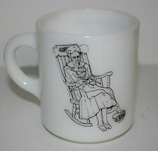 Vintage Grandmother Rocking Chair Milk Glass Coffee Cups Mug with Poem