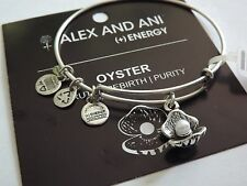 Alex and Ani Oyster with Pearl Charm Bangle Bracelet NWT BOX Russian Silver