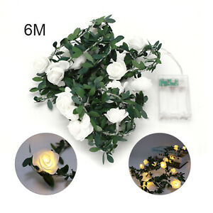 6M Artificial Rose Flower Fairy String LED Lights Home Party Wedding Decor Lamp