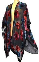 One Size Fits All TS TAKING SHAPE Open Blooms Cape chic velvety sheer light NWT