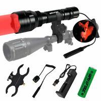 Green/Red LED Hunting Light Torch Tactical Flashlight Hog Lamp w/Scope Gun Mount