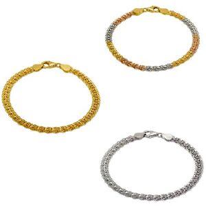 14K Solid Gold 3.5-6.5mm Diamond Cut Flat Phoenix Chain Bracelet Women