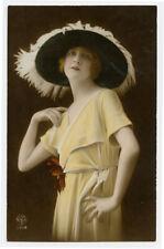 c 1920 BEAUTIFUL YOUNG LADY Sunhat Beauty Lady photo postcard