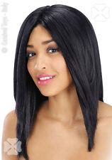 Perruque noir mi longue Cheveux raides spectacle show deguisement costume