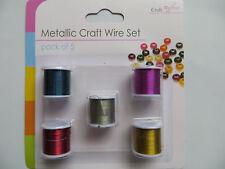Conjunto de Alambre de Artesanía Metálico, alambre de fabricación de joyería, bordado de costura o, 5 piezas